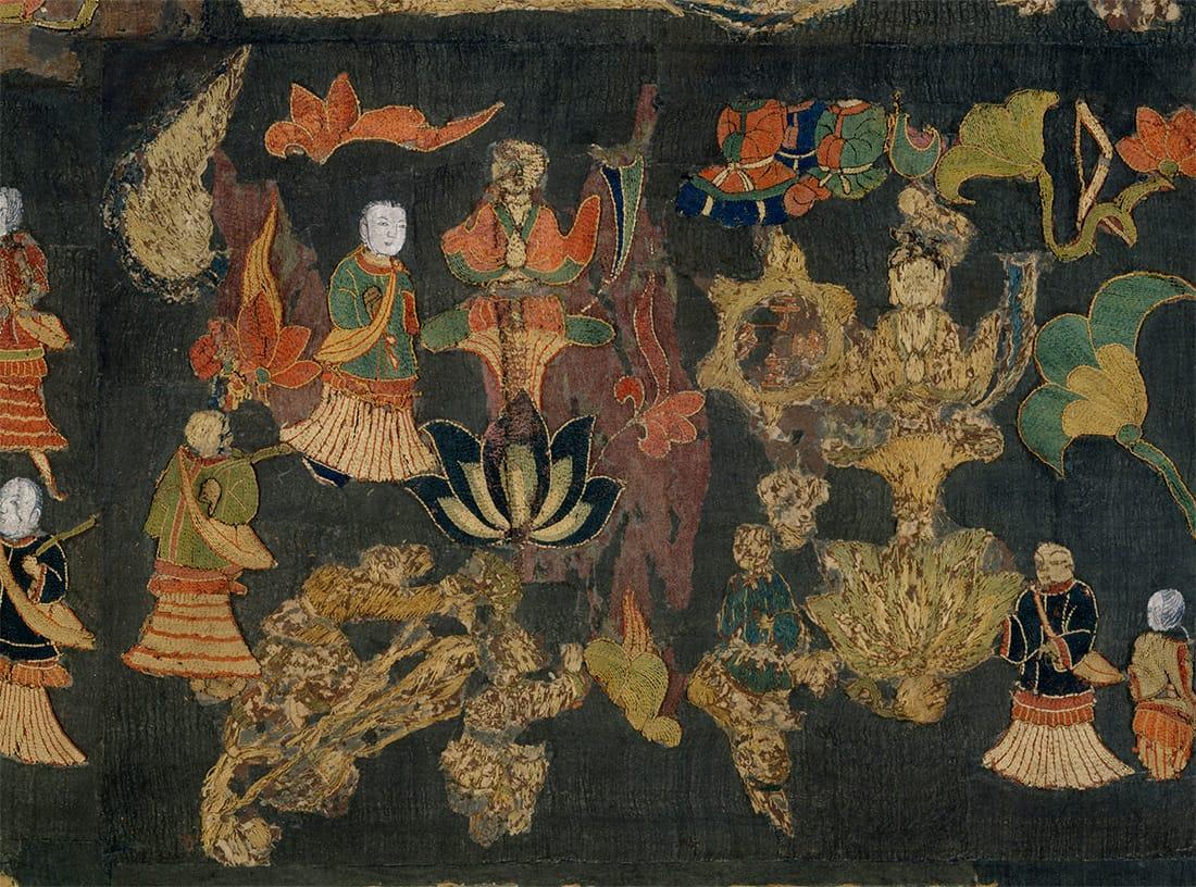 中宮寺宝物 天寿国曼荼羅繍帳 全体の画像